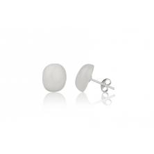 Pendientes de Cuarzo Blanco y plata (ovalado)