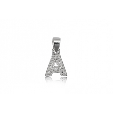 Colgante de plata con circonita (Letra A)