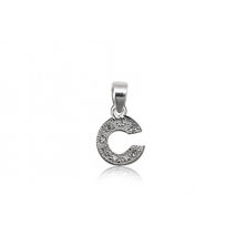 Colgante de plata con circonita (Letra C)