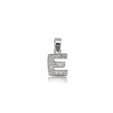 Colgante de plata con circonita (Letra E)
