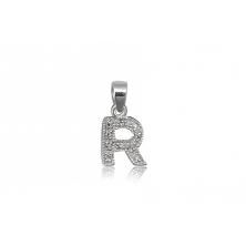 Colgante de plata con circonita Letra R