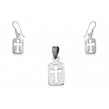 Pendientes y Colgante de Plata - Cruces