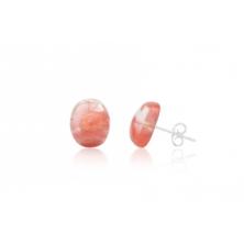 Pendientes  de Cuarzo Rosa y Plata (Ovalados)