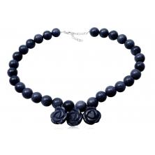 Collar de Perlas de Venturina Azul y Rosas