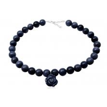 Collar de Perlas y Flor de Venturina Azul