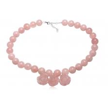 Collar de Perlas y Flores de Cuarzo Rosa
