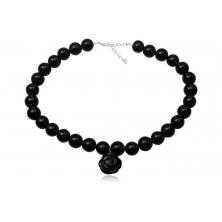 Collar de Perlas y Flor de Onix