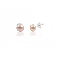 Pendientes de Plata y Perla Natural Rosa Salmón