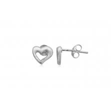 Pendientes de Plata Lisa - Corazón
