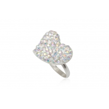 Anillo de Plata con Cristales Preciosa - Corazón
