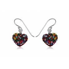 Pendientes de Plata y Cristales Preciosa - Corazón Varios Colores
