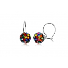 Pendientes de Plata y Cristales Preciosa - Bola Varios Colores