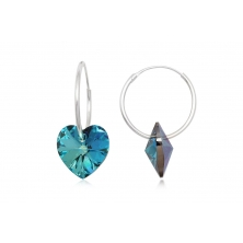 Pendientes de Plata y Cristal Preciosa - Corazón Azul