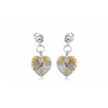 Pendientes de Plata y Cristal Swarovski - Corazón Amarillo