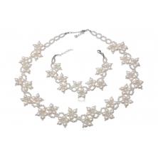 Collar y Pulsera de Perlas naturales con Plata - Flores