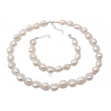 Collar y Pulsera de Perlas Naturales y Plata