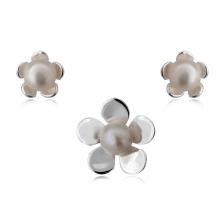 Pendientes y Colgante de Perlas Naturales con Plata - Flores