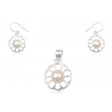Pendientes de Plata con Perla Natural - Flores