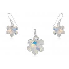 Colgante y Pendientes de Cristal Swarovski con Plata - Estrellas