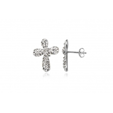 Pendientes de Plata y cristal Swarovsky (Cruz)